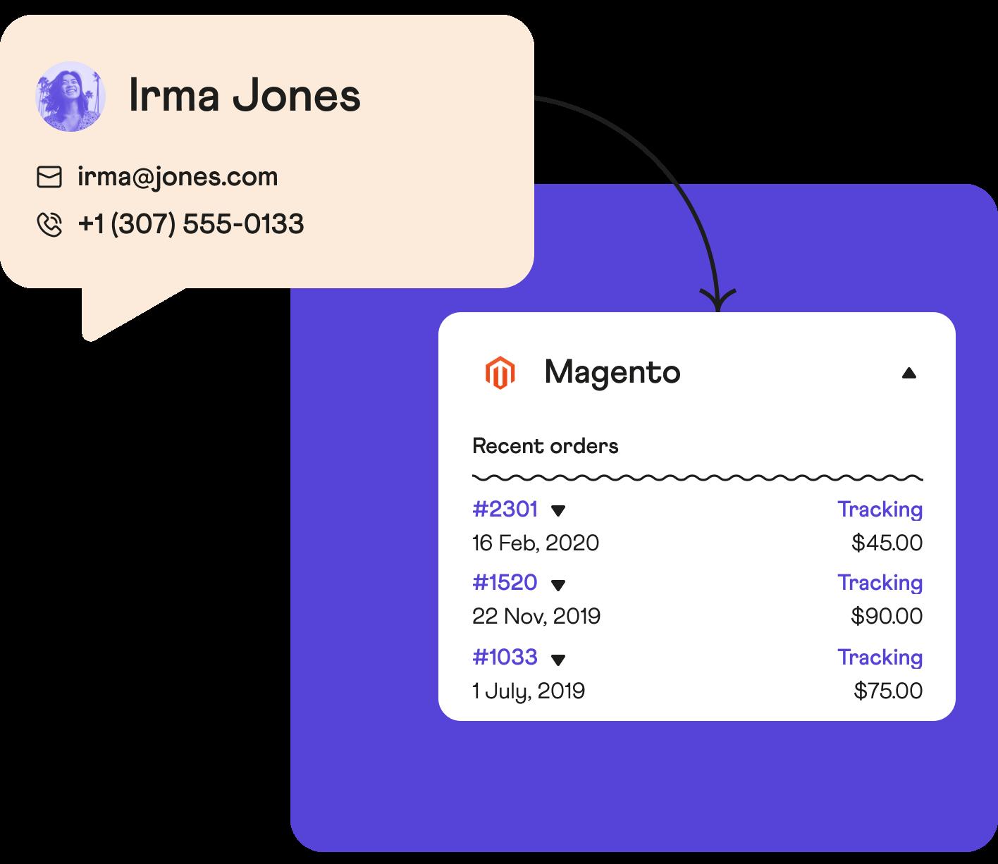 Magento data within Dixa