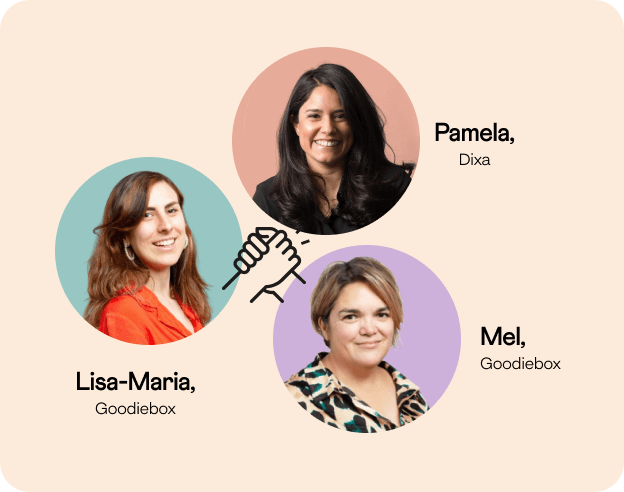 Headshots of Mel & Lisa-Maria from Goodiebox, and Pam from Dixa